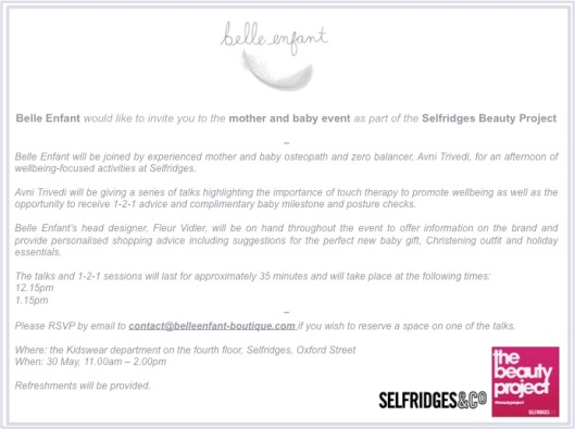 Come visit Belle Enfant at Selfridges on 30 May