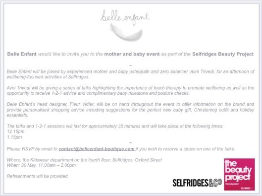 Come visit Belle Enfant at Selfridges on 30 May